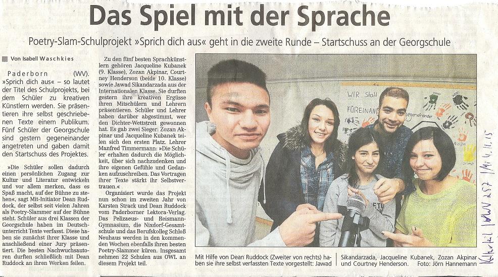 Westfalen Blatt  Isabell Waschkies 4.11.2015